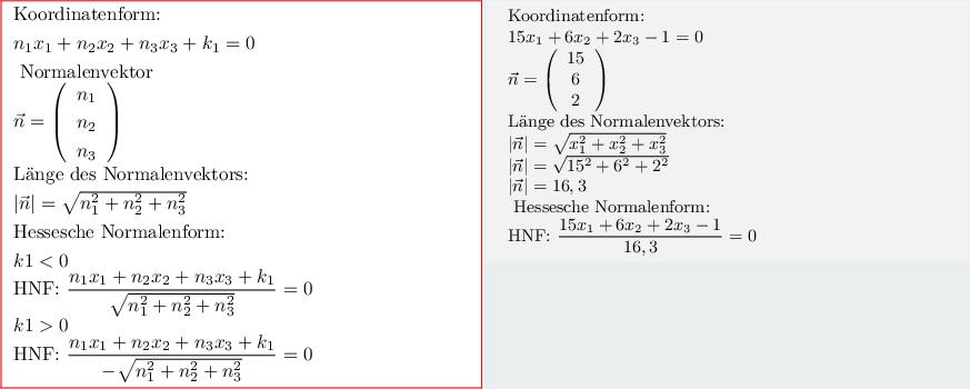 Analytische Geometrie-Ebene-Koordinatenform - Hessesche Normalenform